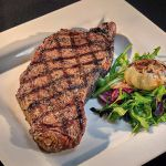NEW YORK STRIP STEAK WITH ROASTED GARLIC